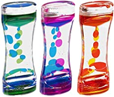 Narwhal Novelties Liquid Motion Bubbler for Kids and Adults - Hourglass Liquid Bubbler/Timer for Sensory Play Toys, Fidget Toy and Stress Management (3 Pack)