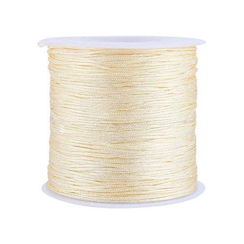 GLOGLOW 20 Farben 100 m x 0,8 mm Rattail Satin Nylon Trim Kordel Chinesischer Knoten für Halskette Armband Aufreihmaterialien Beige