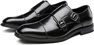 Zapatos monje masculinos,Zapatos vestir de boda banquete de trabajo Zapatos de cuero de negocios retro de cuero de vaca ca...