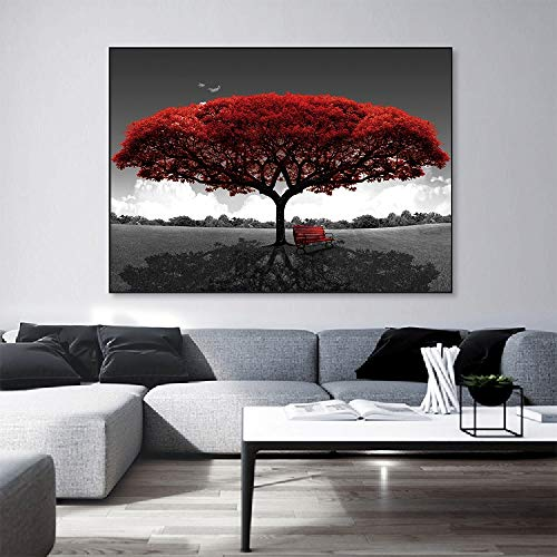 Yulernka Abstract Red Tree Oil Paintings Print On Canvas Art Prints Posters And Prints Landscape Wall Art Pictures Home Decoration 30x45cm