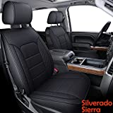 LUCKYMAN CLUB X04-S3 Chevy Silverado/Sierra Front Seat Cover Fit 2007-2021 1500/2500 HD/3500 HD Crew, Regular, Double/Extended Cab with Water Proof Faux Leather (Front only, Black)
