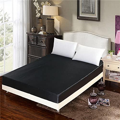 XGguo Protector de colchón/Cubre colchón Acolchado, Ajustable y antiácaros. Sábana de Cama Individual Pure Color-Black_60'_W_x_80' _L