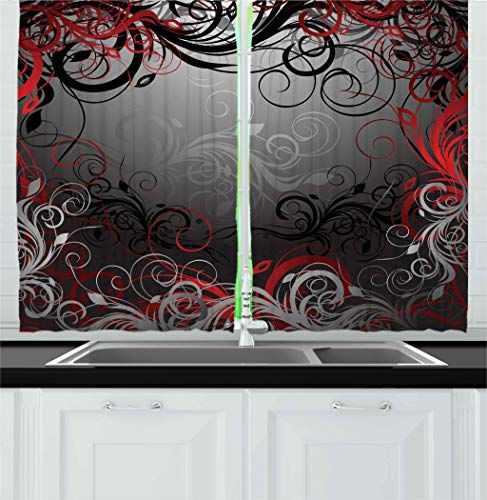 """Ambesonne Abstract Kitchen Curtains, Mystic Forest Floral Swirls Leaves Nature Fading Ombre Effect, Window Drapes 2 Panel Set for Kitchen Cafe Decor, 55"""" X 39"""", Charcoal Grey Pale Ruby"""