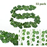 Ecjiuyi 78FT 12 Strands Large Artificial Ivy Plants, Fake Hanging Vine Plants Leaf Garland Hanging for Wedding Party Home Kitchen Garden Outdoor Office Wall Decoration (Grape Leaf)