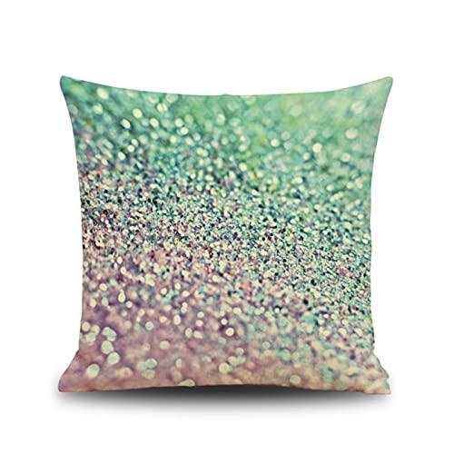 KnBoB Funda Almohada Verde Púrpura Hecho de Lino 50x50 cm Cuadrado Polvo Decoración Interiores - Estilo 5