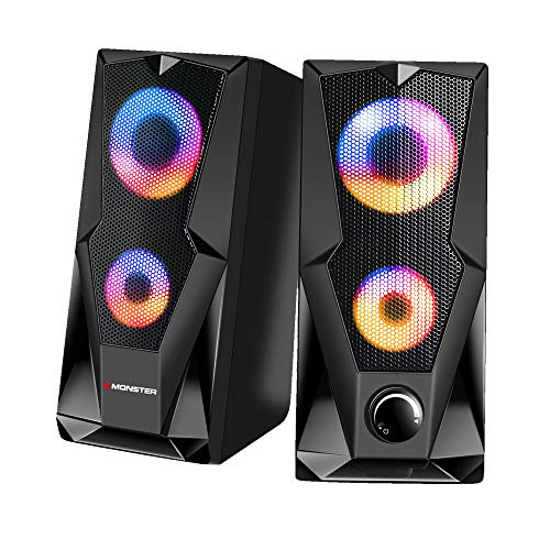 Monster Premium USB-Powered Stereo Speaker Set with Multi-Color LED Lighting Effects for Gaming and Multimedia