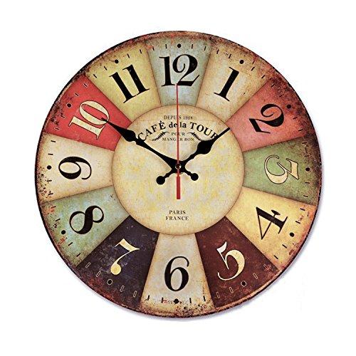 VieVogue Wanduhr, Holz Küchenuhr mit großem Ziffernblatt aus MDF, Retro Uhr im angesagtem Shabby Chic Design mit leisem Quarz-Uhrwerk (Paris, 30cm)