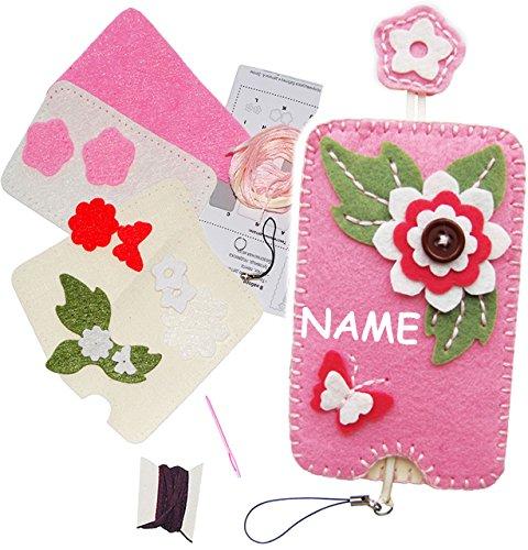 alles-meine.de GmbH Bastelset - Filz - Handytasche / Handyhülle -  3-D Blumen & Blüten  - incl. Name - Smartphone Hülle - ALLE Größen ! zum Sticken, einfaches Nähen per Hand - ..