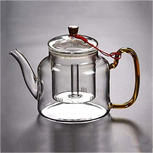 Tetera de Hierro Fundido, hervidor de té de Hierro Fundido Tetera de Vidrio Transparente para té de Hojas Sueltas Té floreciente Coladores de té Resistentes al Calor de Gran Capacidad con Filtro extr