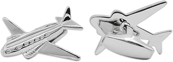APEX Silver Old School Transport Airplane Twin Engine Airliner Cufflinks with Gift Box