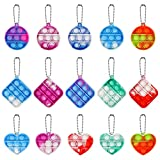 MEIEST 15 PCS Mini Pop Bubble Fidget Sensory Toy, Simple Silicone Rainbow Stress Relief Hand Toy,Squeeze Key-Chain Toy for Adults and Kids,Colorful Anti-Anxiety Office Desk Toys(3 Shapes)