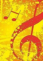 igsticker ポスター ウォールステッカー シール式ステッカー 飾り 841×1189㎜ A0 写真 フォト 壁 インテリア おしゃれ 剥がせる wall sticker poster 003386 ユニーク クール その他 音楽 音符 オレンジ