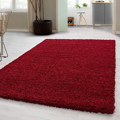 Carpetsale24, Hochflorteppich aus Polypropylen 120x170 cm rot