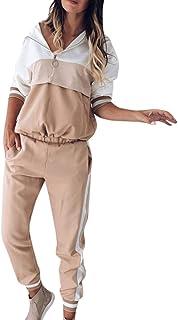 Wadonerful Sport Suit Women Tracksuit Set Zipper V Neck Long Sleeve Color Block Sweatshirt Top+Long Pant 2 PCs Sportwear