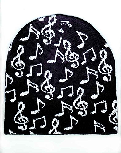 Music Beanie Knit Cap (Black with white notes) by Coool