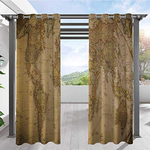 Outdoor Blackout Curtains Anthique Old World Map in Retro Colors Vintage Nostalgic Design Art Print Pergola Outdoor Drapes Beautify Your Outdoor Area Cream Pale Coffee W72 x L84 Inch
