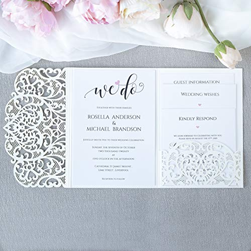 Weiß gefaltet Einladungskarten + KUVERT Lasergeschnittene mit Spitze - Hochzeitskarten Einladungen edles Papier für Gebustag, Hochzeit, Taufe, Scrapbooking MUSTER- Vorgedrucktes Sample