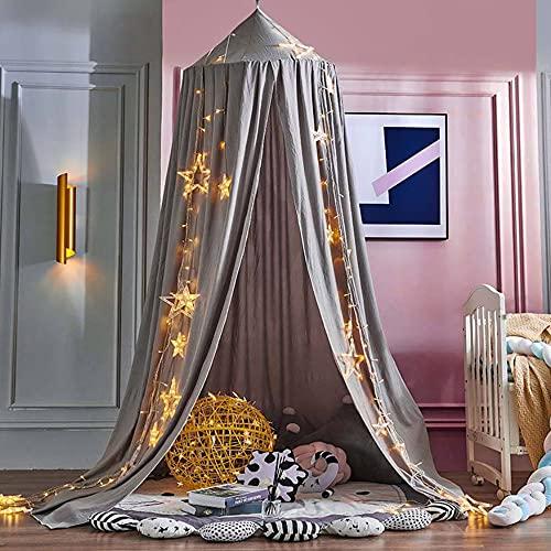 Baldachin, Delmkin Betthimmel Kinder, Hängen Moskitonetz Bett Vorhang für Kinderzimmer und Schlafzimmer (Grau)