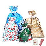 YAAVAAW 30Pz Bolsas de Regalos Navideños Grandes(con cintas y 50 etiquetas),Envoltura de Regalos Bolsas para Regalos Navidad Bolsas Suministros de fiesta de Navidad,Bolsas de regalo de Año Nuevo