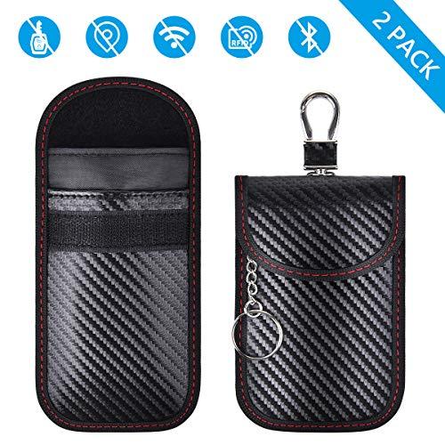 Tyhbelle Keyless Go Schutz Autoschlüssel RFID Blocker Funkschlüssel Abschirmung Signalblocker Faraday Strahlenschutz Tasche Etui Schlüsseletui Car Key Safe Schutzhülle (Schwarz- 2 Pack)
