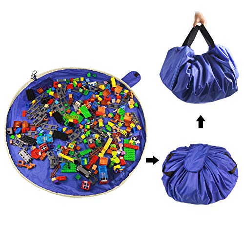 SUMBABO Spielzeug Aufraeumsack Teppich Decke Sack für Kinder - Spielzeug Aufbewahrung Matte Tasche Spielmatte Sack von Kordelzug mit Kappe wie Reisetasche als Geschenk