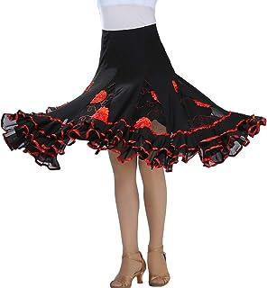 d181a13b1090d Tookang Femme Jupe de Danse Costume Jupe de Performance de Danse Colorblock  Danse de Salon Fleur