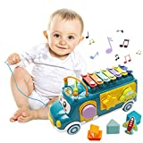 Baby Xylophone Pull Along Toys - Baby Musical Toys Bus Xylophone Percussion Instrument with Child-Safe Stick Shape Sorter Color Recognition Early Educational Toy for 12-18 Months+ Toddlers Boys Girls