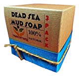 Dead Sea Mud Soap Bar Made With Frankincense Lavender & Eucalyptus Essential Oils 100% Natural Contains Activated Charcoal Use on Face or Body to Help With Acne Psoriasis Eczema (3 Pack)
