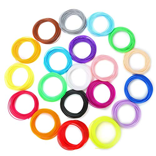 Kinder DIY Filament 3D Stift Filament 328 Fuß 20 Farben- 3D-Druckmaterialien 1,75 PLA Filament 3D Stift Farben Set für 3D Drucker Stift,Gesamtlänge: 100M
