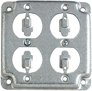 Steel City RS8 Outlet Box Surface Cover, Square, Raised, 4-Inch, Galvanized