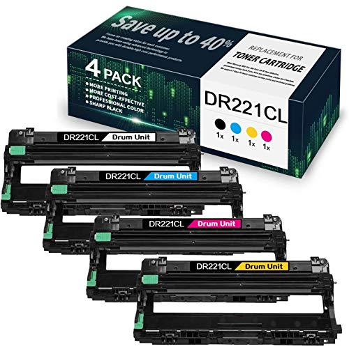 4 Pack(1BK/1C/1M/1Y) DR221CL Compatible Drum Unit Replacement for Brother DCP-9015CDW DCP-9020CDN HL-3140CW HL-3150CDN HL-3170CDW HL-3180CDW MFC-9130CW MFC-9140CDN MFC-9330CDW MFC-9340CDW, By VaserInk