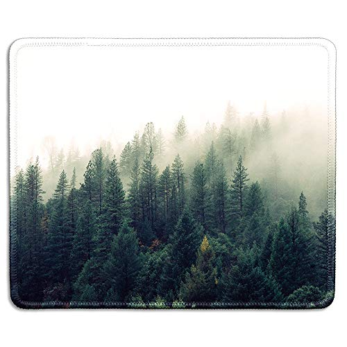 dealzEpic - Art Mousepad - Natural Rubber Mouse Pad Printed with Landscape of The Foggy Forest - Stitched Edges - 9.5x7.9 inches