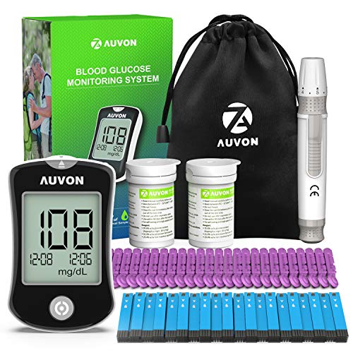 AUVON DS-W Blood Sugar Kit (No Coding Required), High-Tech Diabetes Blood Glucose Meter with 100...
