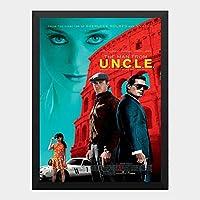 ハンギングペインティング - コードネーム アンクル THE MAN OM UNCLEのポスター 黒フォトフレーム、ファッション絵画、壁飾り、家族壁画装飾 サイズ:33x24cm(額縁を送る)