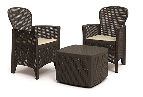 'Plastica Lounge 'Tree Marrone in rattan, effetto auflagen von IPAE Progarden, made in Europe