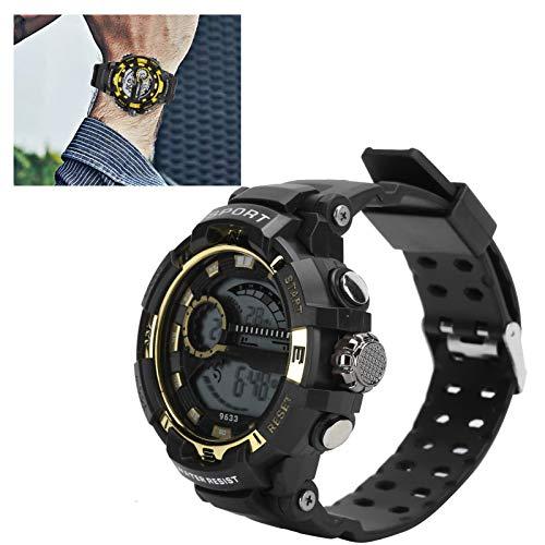 Brrnoo Relojes Deportivos electrónicos para Hombres, Relojes Impermeables para Hombres, Reloj de Pulsera multifunción Masculino Luminoso con LED Digital(Negro Dorado)