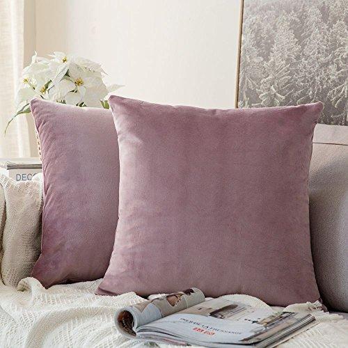 MIULEE 2er Set Samt Soft Solid Dekorative Quadrat Wurf Kissenbezüge Set Kissen Fall für Sofa Schlafzimmer Pink Lila 16x16 Zoll 40x40 cm