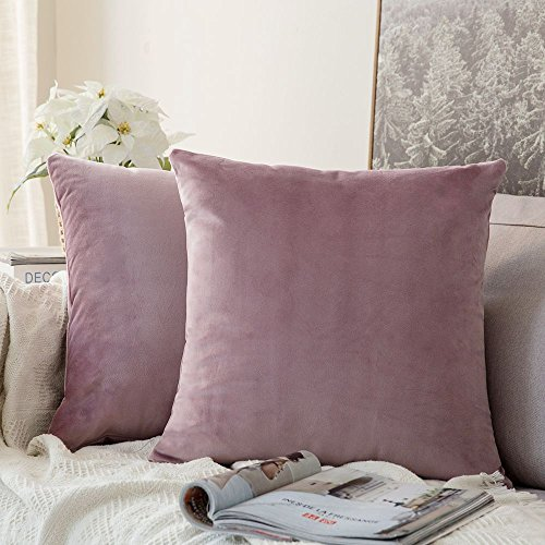 MIULEE Velvet Soft Soild Microfiber Decorative Square Pillow Case Throw Cushion Cover for Sofa Bedroom with Invisible Zipper 16x16 Inch 40x40cm Pink Purple Set of 2 Lined