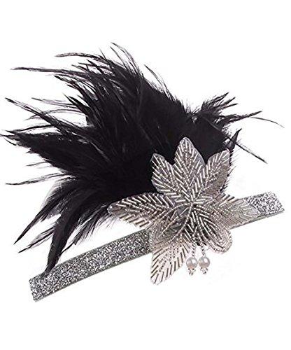 Feather Fascia per ragazze anni '20, Tukistore Vintage 20s Fascia per capelli con strass Fascia con accessori per capelli in cristallo piuma Grande Gatsby Fascia per ragazza Accessori costume