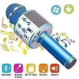 Phiraggit Micrófono Inalámbrico Bluetooth, Bluetooth Altavoz, Portátil Karaoke Bluetooth Dispositivo de Mano Karaoke Player Micrófono Para niños adultos CASA KTV Party Para Android /Ipad/PC