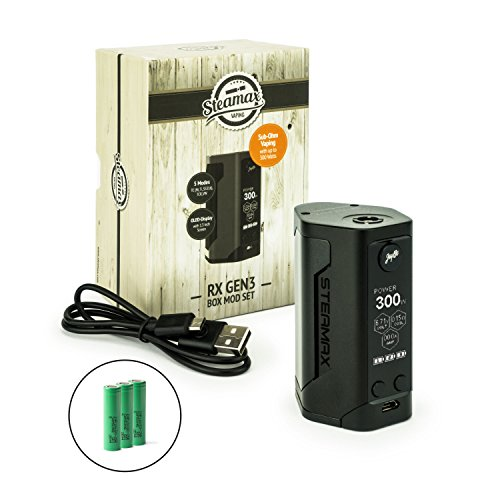 Steamax Wismec RX Gen3 Akkuträger 300 Watt + 3 x Akku (je 2500 mAh) Mod-Box-Set (schwarz)