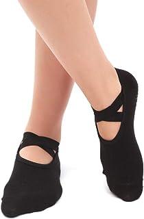 Calcetines de yoga Primavera y Verano Antideslizantes Mujer Silicona Principiante Correa Cruzada Fitness Calcetines Antideslizantes Tiras (Color : Black)