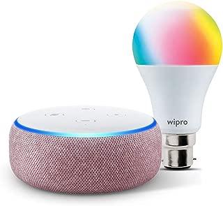 Echo Dot (Purple) bundle with Wipro 9W smart color bulb