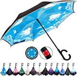 HOSA Auto Open Reverse Inverted Umbrella Night Safety Reflective Strips, UV Protection Double Layer Windproof Canopy Design C Handle (C-Shaped) Upside Down Straight Umbrella For Outdoor Car Rain Women