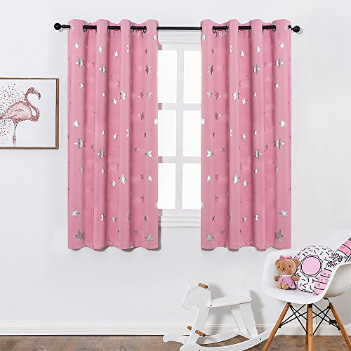 Anjee Blackout Curtains for Girls Bedroom 63 Inches Long Kids Star Foil Print Window Pink Curtains Thermal Insulated Room Darkening Drapes Nursery Decor 2 Panels, Baby Pink 52x63 Inches