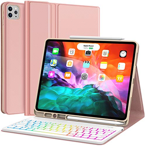 Keyboard Case for iPad Pro 12.9 2020 4th Generation, iPad Pro 12.9 Case with Keyboard 3rd Generation 2018-7 Colors Backlit - Detachable - Pencil Holder - Stand Cover -iPad Pro 12.9 Keyboard, Rose