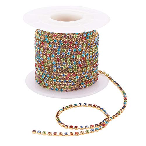 10 Yard Colourful Crystal Rhinestone Close Chain Trim for Sewing Crafts DIY Decoration Crystal Claw Chain, Brass base and claw will not broken