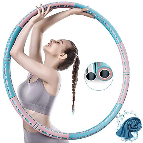 Sanyee Hoola Fitness Hoop,Hoola Reifen Hoop Erwachsene Zur Gewichtsreduktion und Massage Verwendet Werden KöNnen,6 Segmente Abnehmbarer,Stabiler Edelstahlkern mit Premium Schaumstoff,Längeres Leben