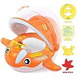 Peradix Flotadora para bebés 6meses-3 Años Barco Inflable Flotador con Sombrero para el Sol y Asiento Respaldo Techo Ajustable Juguetes de Desarrollo de Natación en Agua para Niños (Naranja)