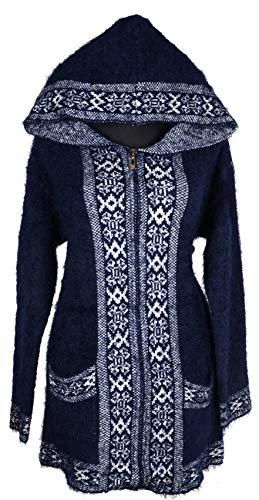 Grisodonna Style Damen Dicker Kapuze Strickjacke Jacke Pullover Mantel Strickmantel Übergang Winter 40 42 44 46 48 M L XL Jeans Blau Norweger Print (44)